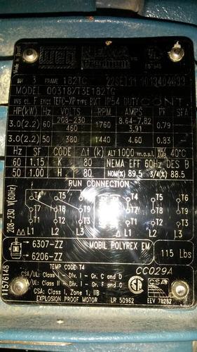 motor a prueba de explosion 1hp 1800rpm trifasico weg