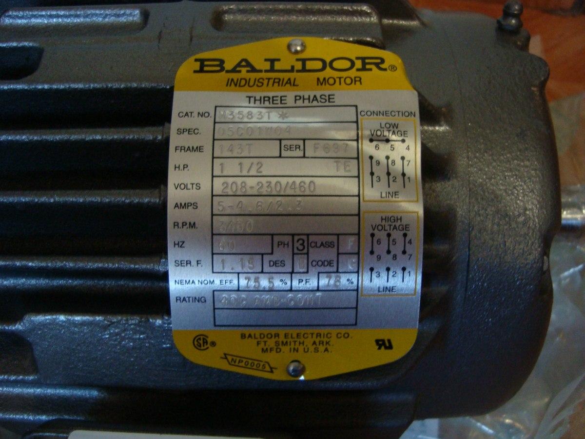 Motor Baldor M3583t Nuevo De 1 5 Hp 220  440 Volts