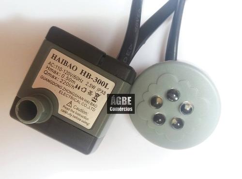 motor bomba para fontes de água aquário 220l/h com led