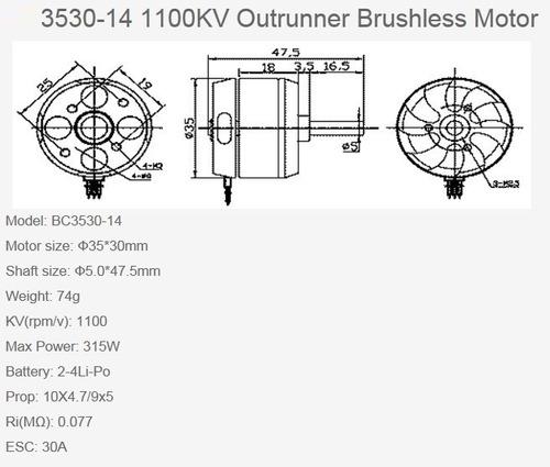 motor brushless 3530 1100kv p/ aeromodelos aviões em geral.