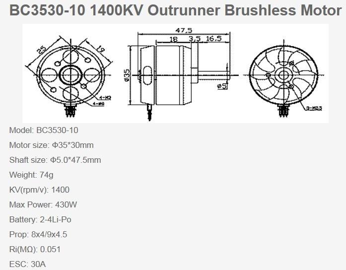 Motor Brushless 3530 1400kv P/ Aeromodelos Aviões Em Geral