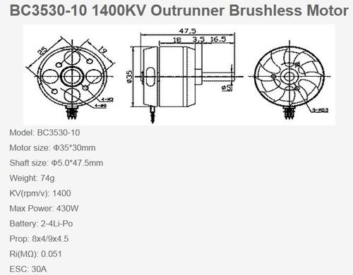motor brushless 3530 1400kv p/ aeromodelos aviões em geral.