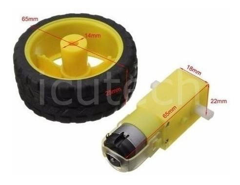 motor dc 3v a 6v caja reductora rueda goma arduino