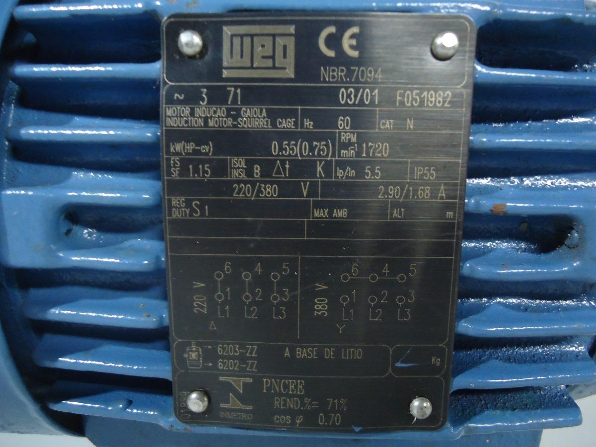 motor de indu u00e7 u00e3o trif u00e1sico 0 75cv 1720rpm 220v380v weg