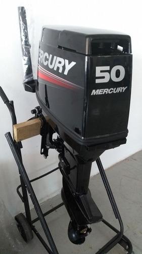 motor de popa mercury - 50 hp 2 tempos, com partida eletrica