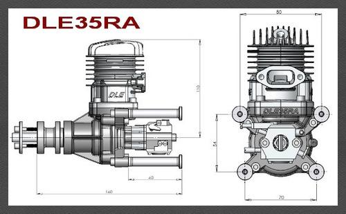 motor dle 35ra - gasolina - escape traseiro - zero na caixa