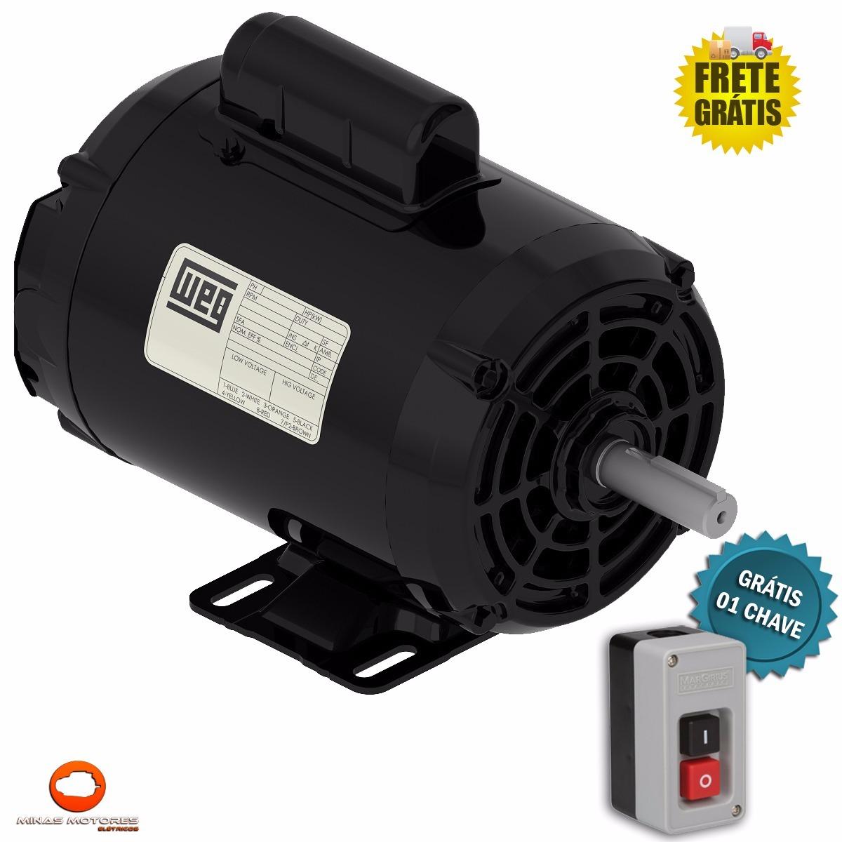 c8c0bf1be2b Motor Elétrico Monofásico 127 220v Weg 1 Cv Baixa Rotação - R  1.099 ...