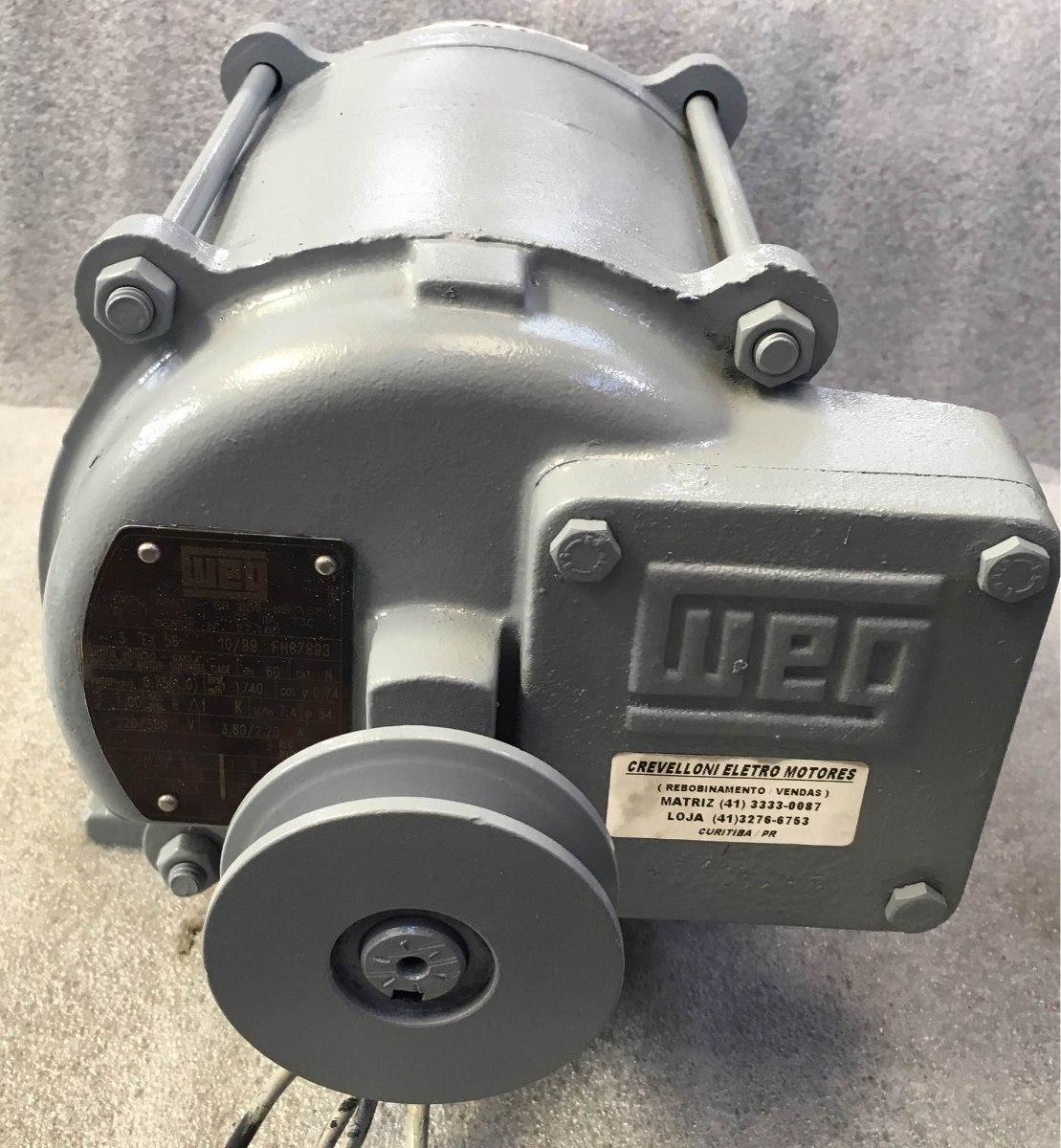 42e2943b34f Motor Elétrico Weg 1cv 4p Trifásico(p bomba Comb.)220 380v - R  320 ...