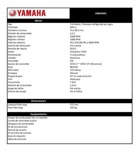 motor f/b yamaha 60hp 2t enduro para trabajo - 0km oferta!!