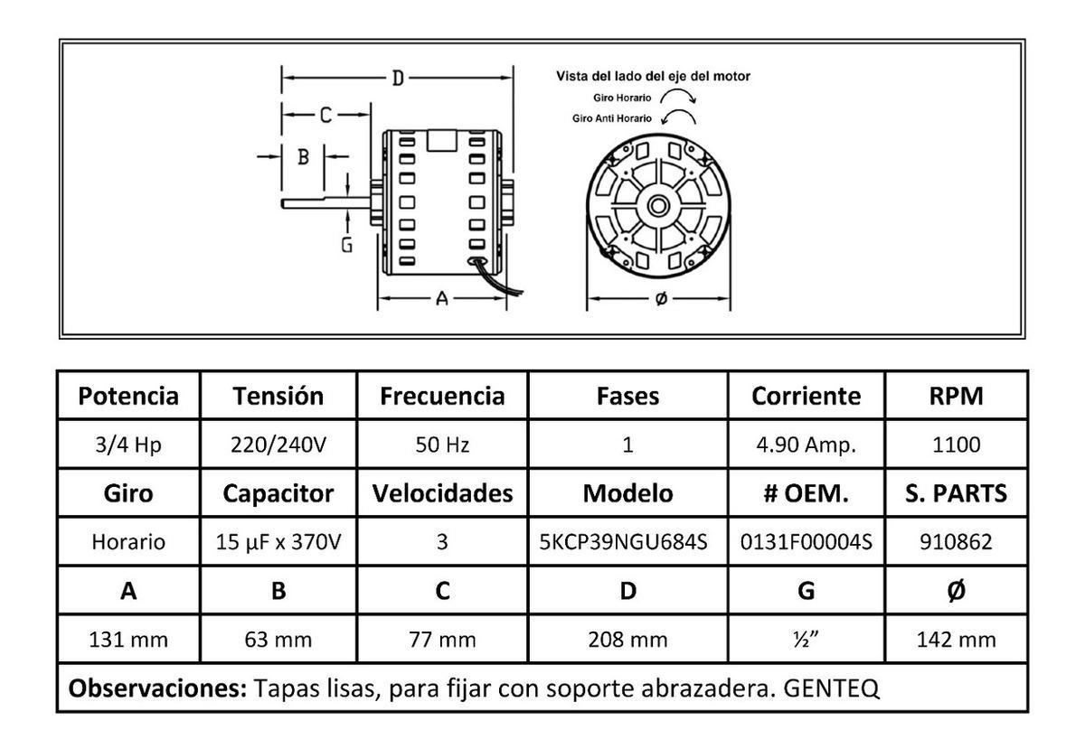 Motor Forzador Para Calefactor Goodman Gmp 1/2 Hp