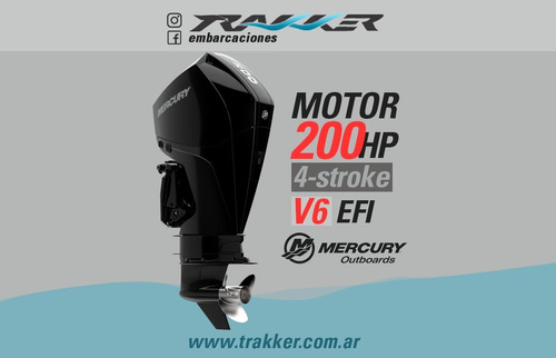 motor fuera de borda mercury 200 hp v6 4 tiempos trakker