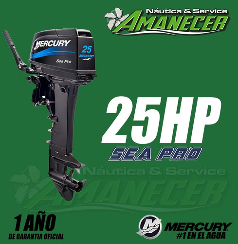 motor fuera de borda mercury 25 hp sea pro 2t largo
