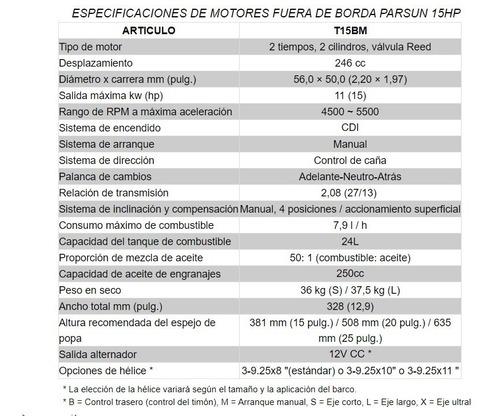motor fuera de borda parsun 15 hp 2t corto manual 2020