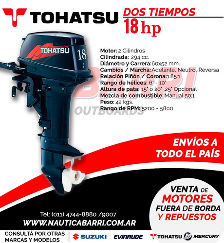motor fuera de borda tohatsu 2 tiempos 18 hp