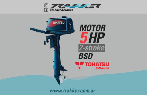motor fuera de borda tohatsu 5 hp bds 2 tiempos trakker