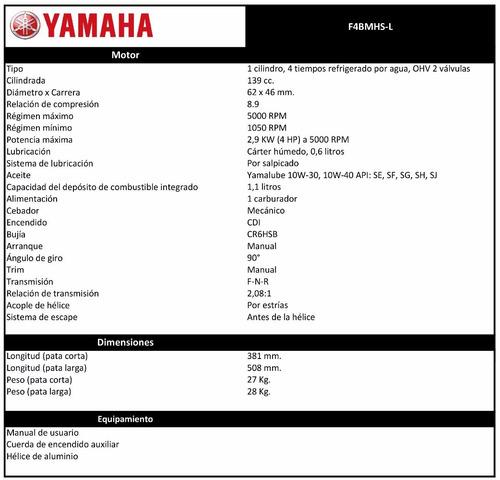 motor fuera de borda yamaha 4 hp, 4 t, arr. manual c/caña
