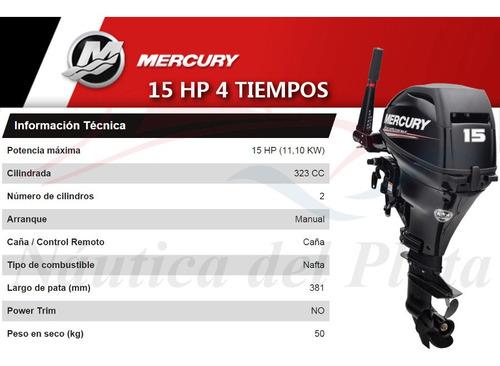motor mercury 15 hp 4 tiempos  0 hs 2020 náutica del plata