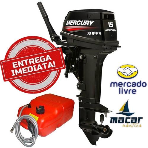 motor mercury 15 hp super 2t + capa carrinho oleo lava motor