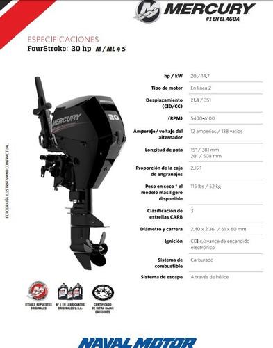 motor mercury 20 m 4s (4 tiempos)