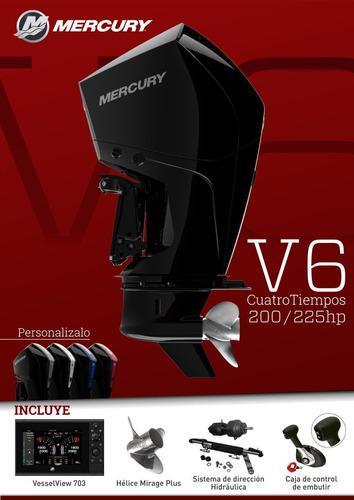 motor mercury 200 hp v6 4 tiempos. nueva generación