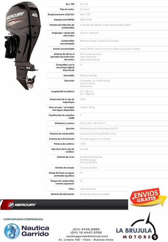 motor mercury 40 hp 4t. consultar precio de contado.