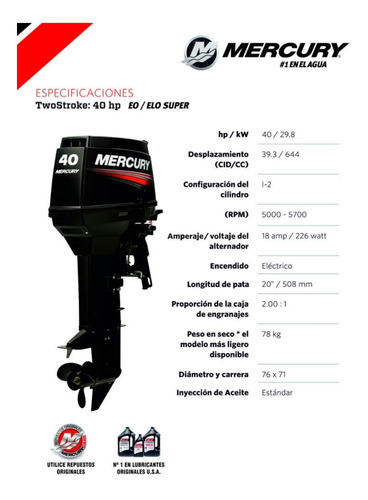 motor mercury 40 hp elo super 2 tiempos 0 km
