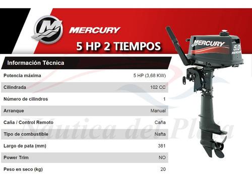 motor mercury 5 hp 2 tiempos  0 hs 2020 náutica del plata