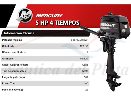 motor mercury 5 hp 4 tiempos  0 hs 2020 náutica del plata