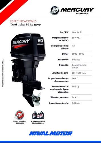 motor mercury 60 elpto bf (2 tiempos) pata de 90 hp