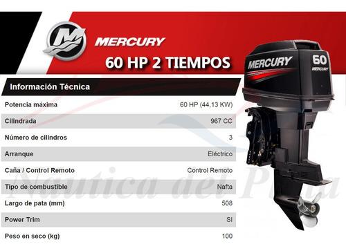 motor mercury 60 hp 2 tiempos  0 hs 2020 náutica del plata