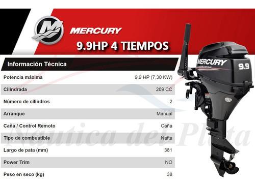 motor mercury 9.9 hp 4 tiempos  0 hs 2020 náutica del plata