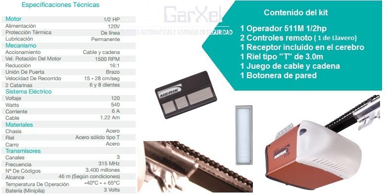 Motor merik 511 25a cocheras puertas automaticas riel de - Motor puerta garaje precio ...