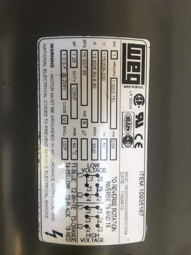 motor monofasico  marca weg 1hp