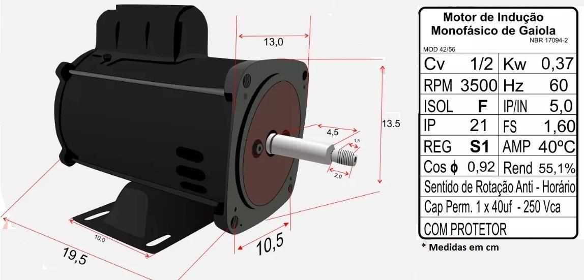 b7a39bdaef5 motor monofásico para bomba igui 1 2cv 110 127v nova motores. Carregando  zoom.