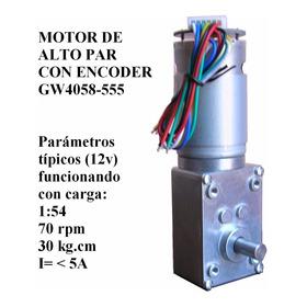 Motor Motorreductor 12v 24v Alto Torque 1:54 Encoder Gw4058
