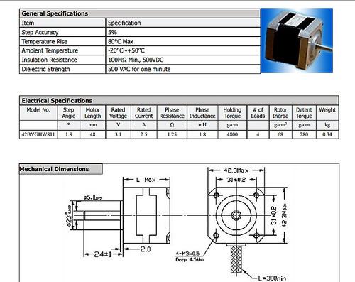 motor nema 17 alto torque 48 mm 4,8 kg.cm 1,8° :: printalot