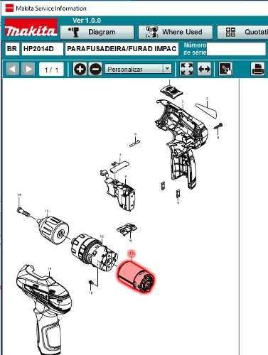 motor original furad / parafusad makita hp2014d hp330 hp2016