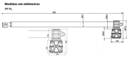 motor portão pivotante rossi 500mm folha 2,30mts 220v 1/3hp