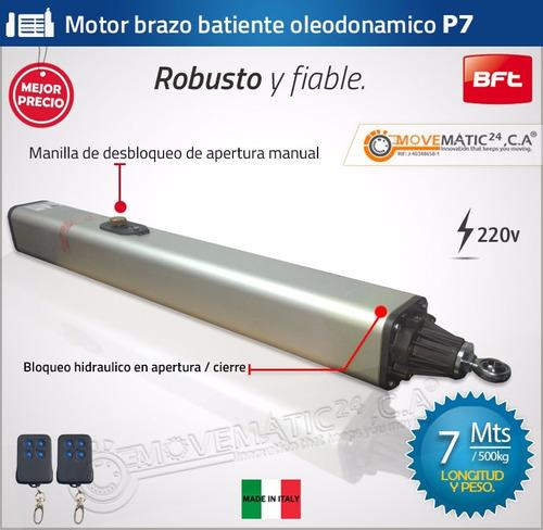 motor porton batiente brazo hidraulico bft p7 7mts italiano