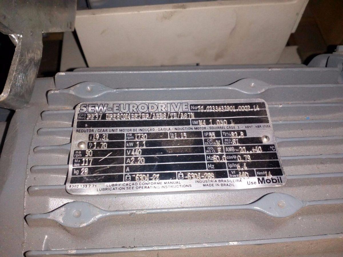 motor redutor sew eurodrive 440v 1 5cv 1730 rpm 19 31 red
