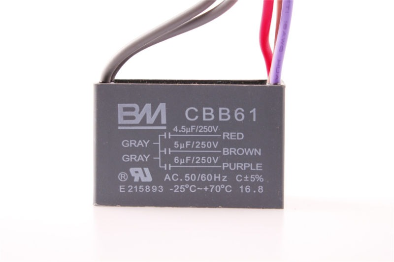 5-Wire Ceiling Fan Electric Machine Capacitor CBB61 AC 250V 4.5uf 5uf 6uf