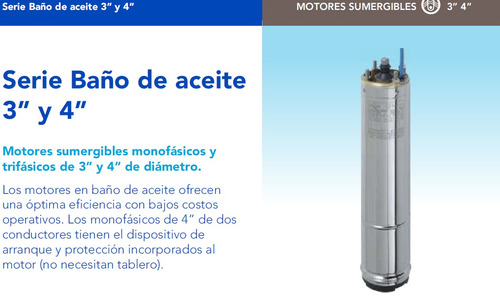 motor sumergible monofásico franklin 4pulg. 0,75hp 2 cables