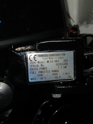 motor, tohatsu 9,8 hp 4 tiempos