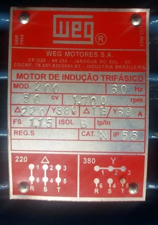 motor weg el u00e9trico trif u00e1sico 50cv 4 polos 1750 rpm 220