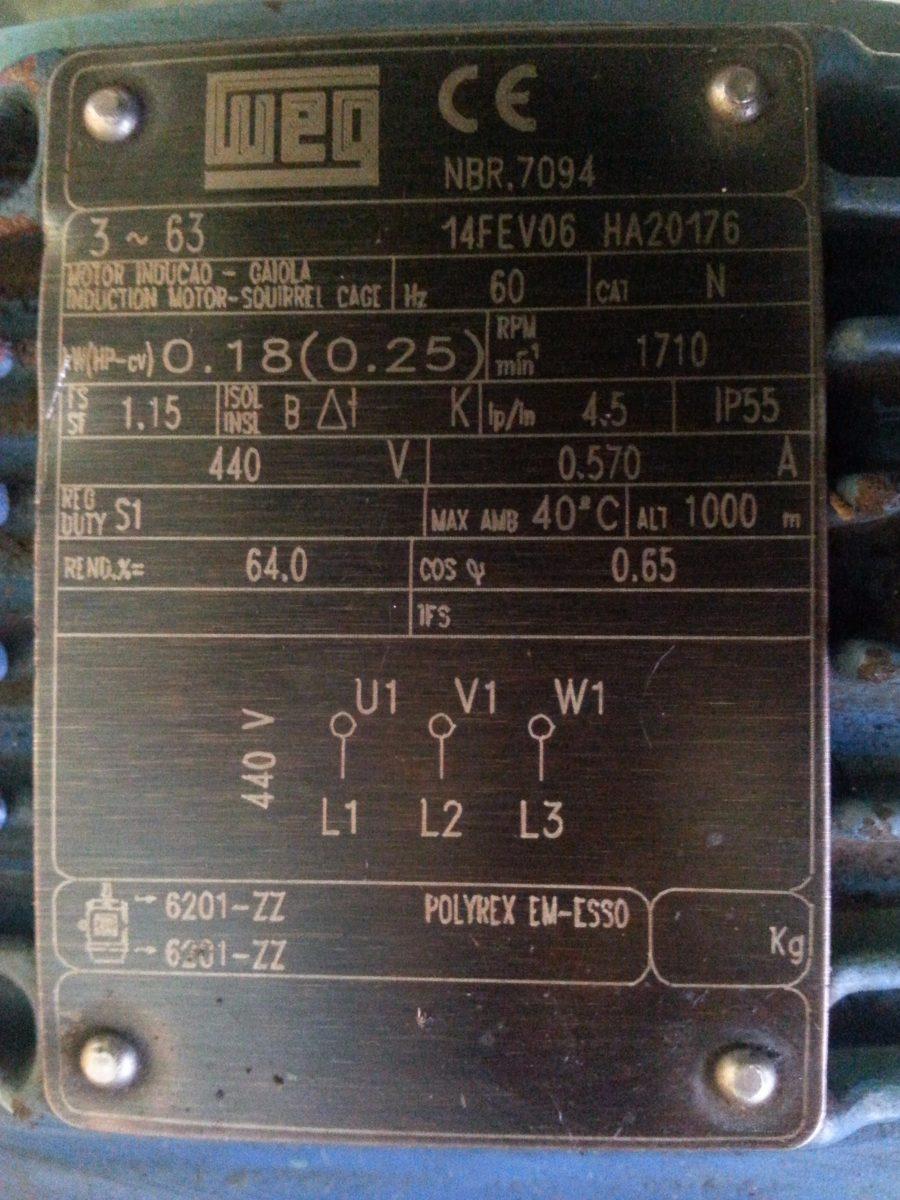 motoredutor 0 25 cv 1710 rpm 440 weg reducao 1  30 cestari