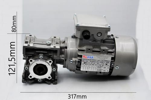 motoredutor  q40 1/60 c/ motor 1/4 cv trifásico romak
