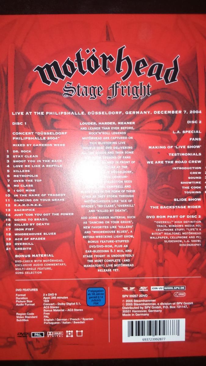 Motorhead Stage Fright 2dvd Motörhead - $ 300 00