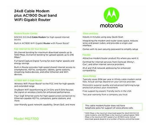 motorola mg7700 24x8 cable modem plus ac1900