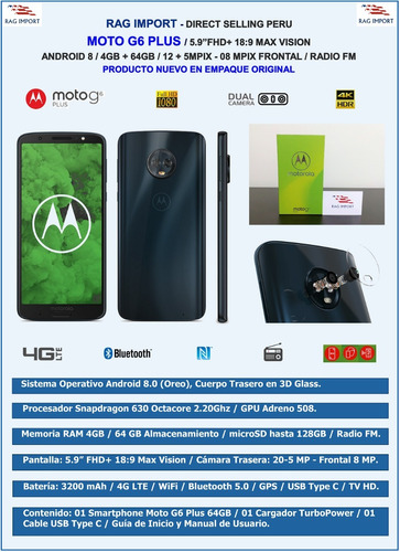motorola moto g6 plus / 4gb + 64gb / 12+5mp / nuevo sellado