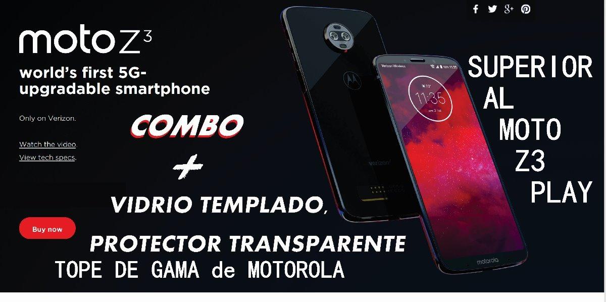 motorola moto z3 no play tope de gama cover y vidrio temp